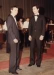 Il maestro col solista Gabriele Micheli dopo il concerto al Verdi 1981